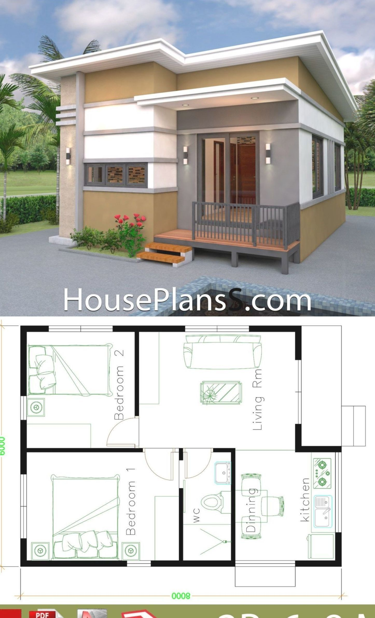 Small House Design Plans 6x8 With 2 Bedrooms House Plans Sam Small House Design Plans House Plans 2 Bedroom House Design