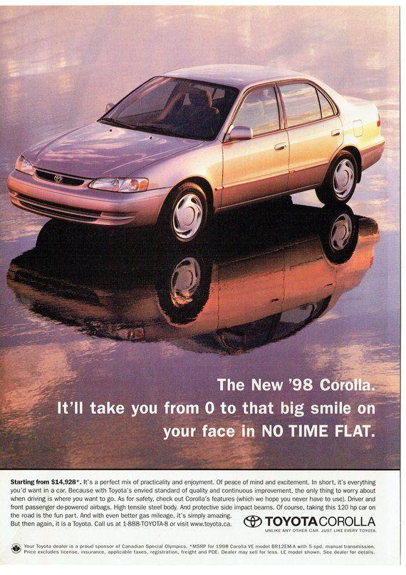 1998 Advertisement Toyota Corolla 98 Zero To Big Smile In No