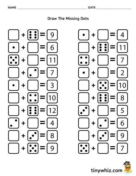 Free Worksheet Draw The Missing Dots Dice Addition For Kid Kindergarten Math Worksheets Printables Printable Math Worksheets Kindergarten Worksheets Printable