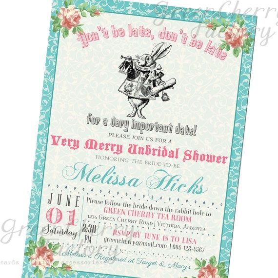 Mad Hatter Tea Party Bridal Shower  Bridal Shower Invitation