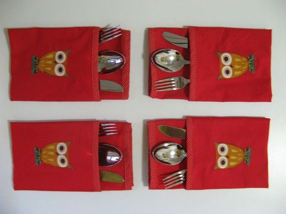 red owl napkins set of 4 by yubomination on Etsy, $25.00