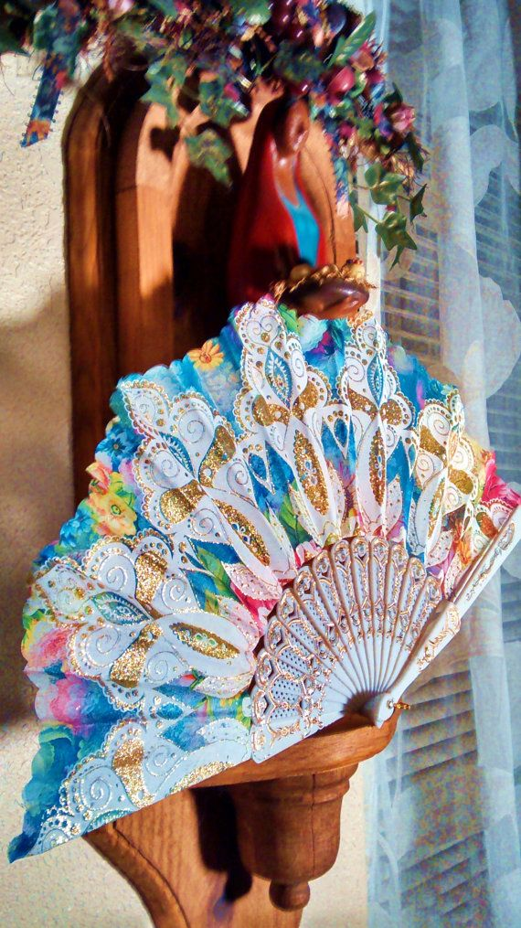 Watercolor Hand Held Fan (Wedding Fan Bride Bridal Spanish