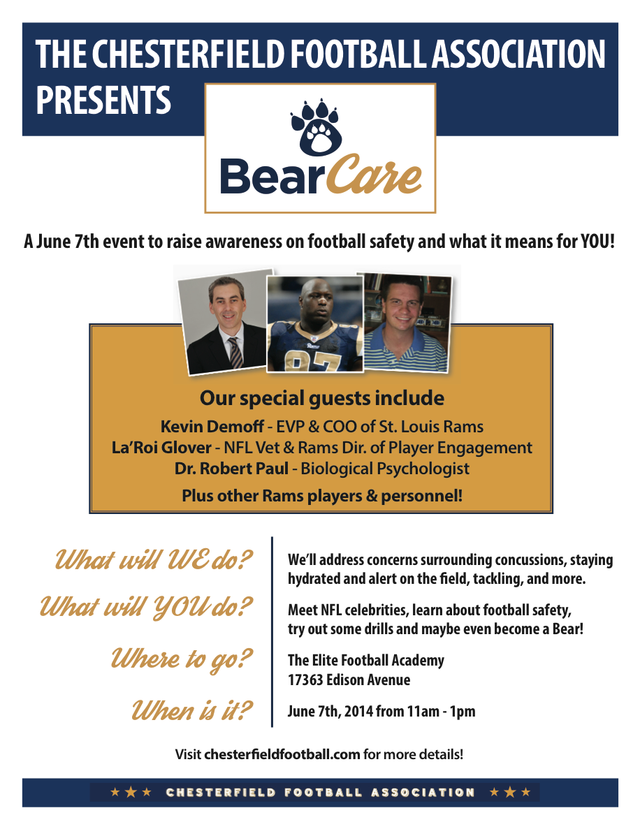 Join us on Sat June 7th!   Tags: St. Louis Rams, Football, Pop Warner, Youth Sports, Safety, La'Roi Glover, Youth Football, Seminar, Fundamentals, Chesterfield, Elite Sports Academy
