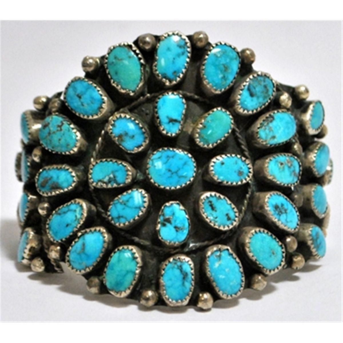 Old Pawn Spider Web Kingman Turquoise Needlepoint Sterling Silver Cuff Bracelet