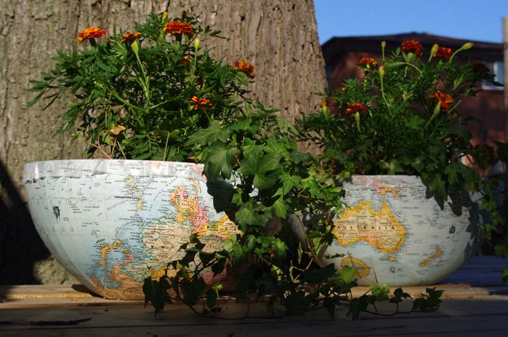 GLOBE planters. This was an easy weekend project to turn an old globe into cute planters for the garden! Step by step instructions are on the blog.