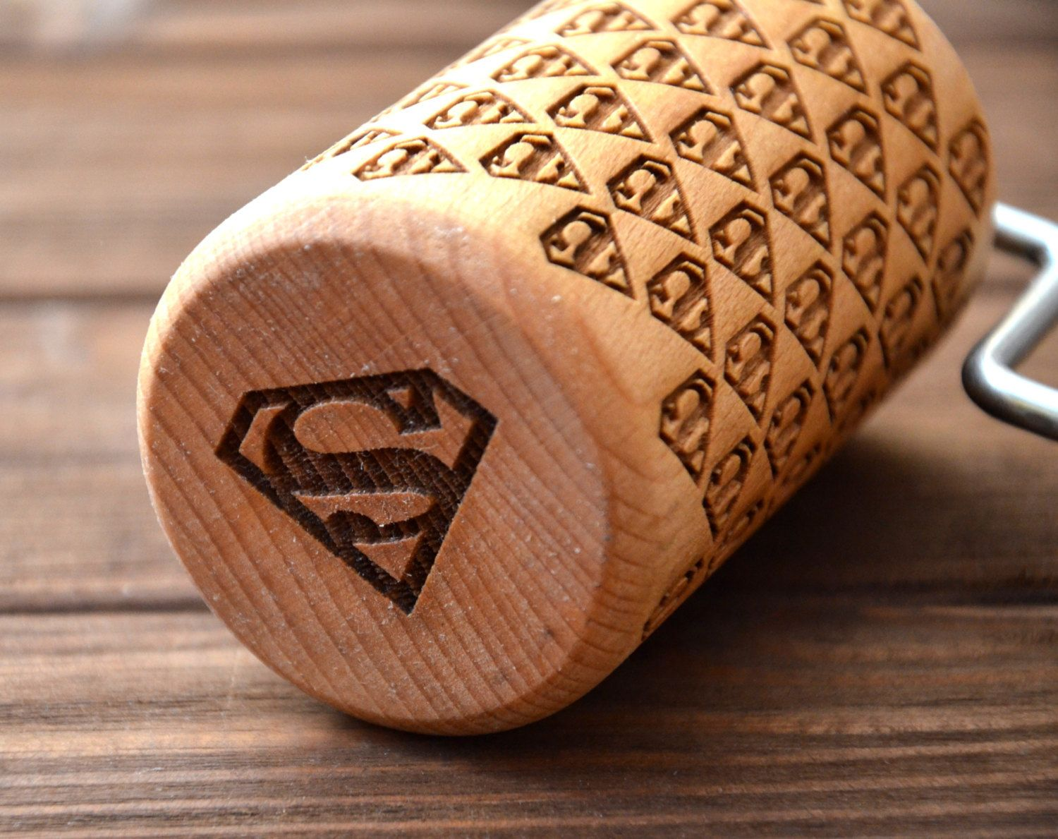 Superman Print Engraved Rolling Pin Custom Marvel Gifts Comics Sign Home Kitchen Gift