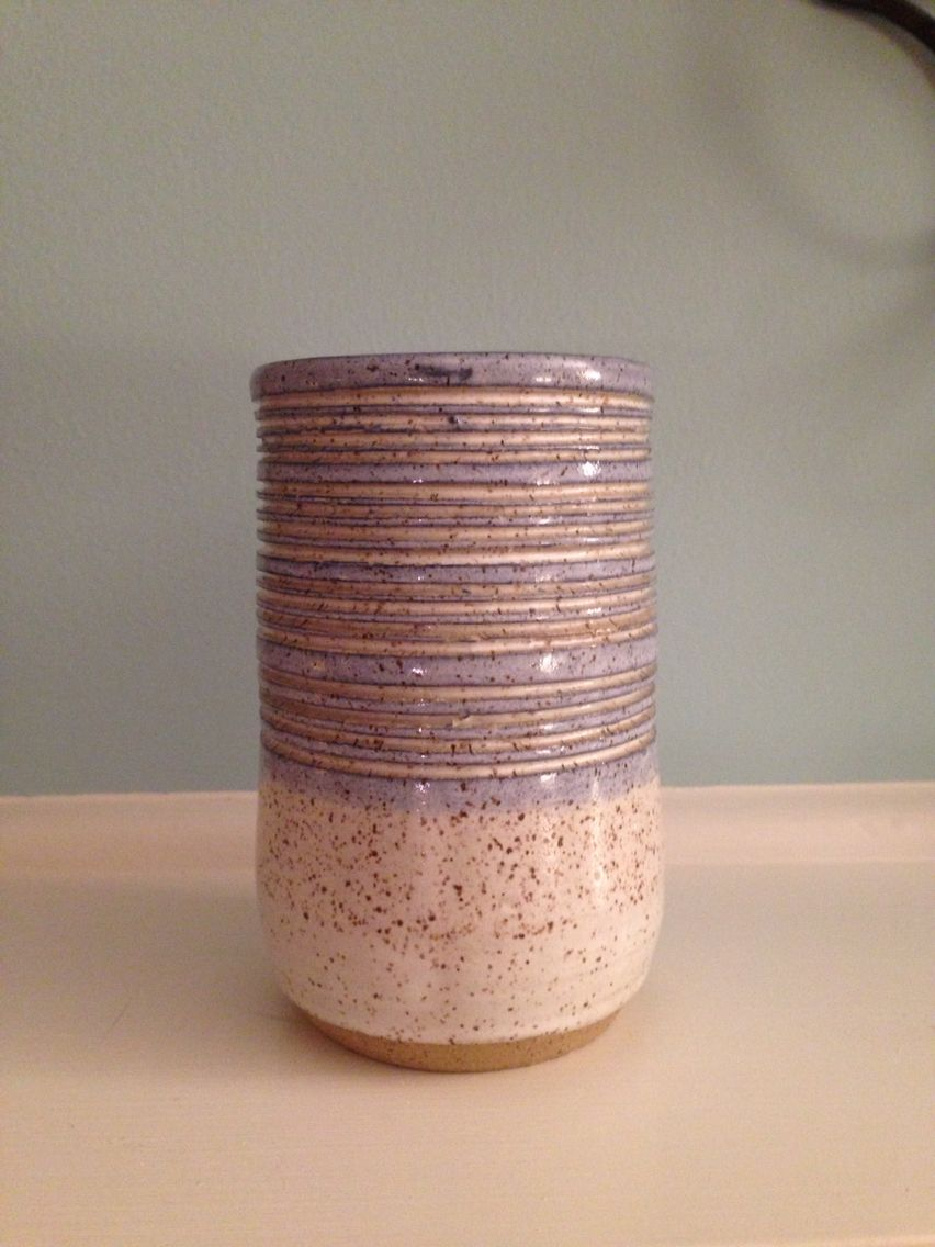 """New customers get 10% off ALL ITEMS until February 28. Coupon code Pinterest10.     This piece can be found at my etsy shop:  http://etsy.com/shop/MelissaDawnWickham    5.5"""" H x 3.25"""" W I can't decide if this is a small vase or a large 14oz cup/tumbler. Hand thrown and wheel thrown ceramic cup or vase. Concentric circles go all the way around. Speckled ceramic stoneware cup. Pottery cup"""