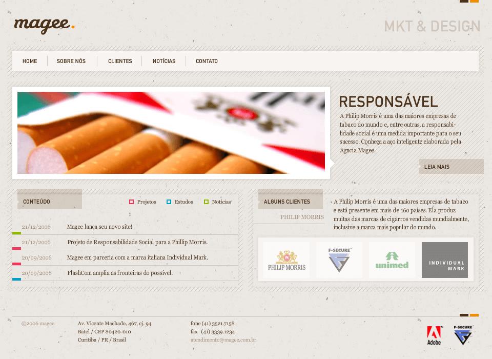 Magee Website In 2006 Web Design Design Museum Design