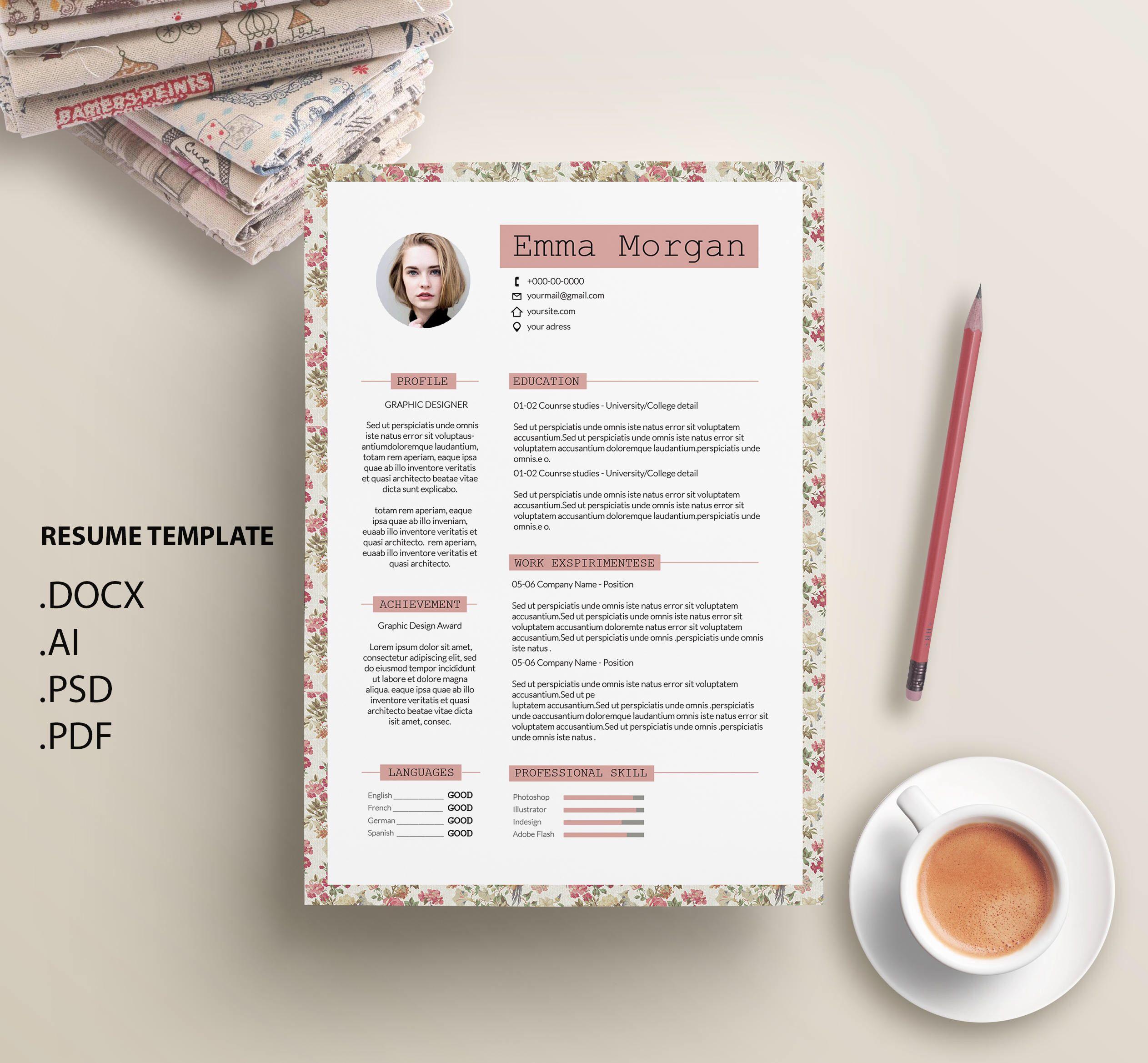 resume Vintage Resume Template sale 20 off vintage floral flower resume template cv template