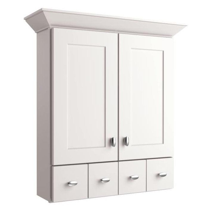 Allen Roth Palencia White 34 In Painted Wall Cabinet Bathroom