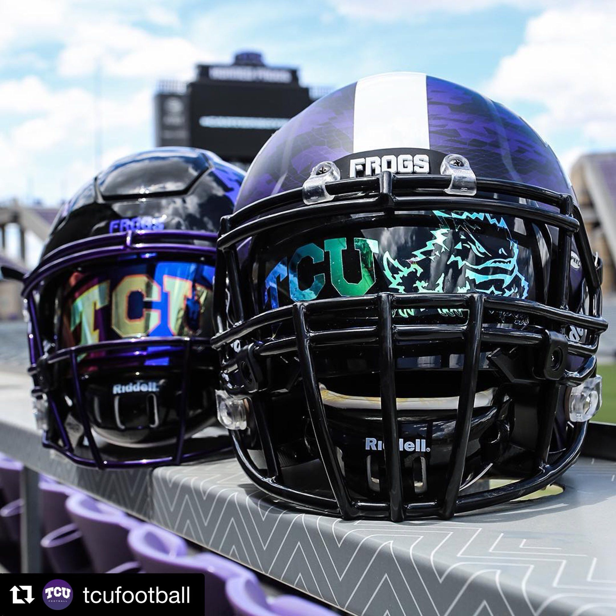 One Of The First Shoc Custom Logo Projects We Put Together For The Ncaa Team Texas Christian University The Horned Frogs Football Helmets Tcu Football Football