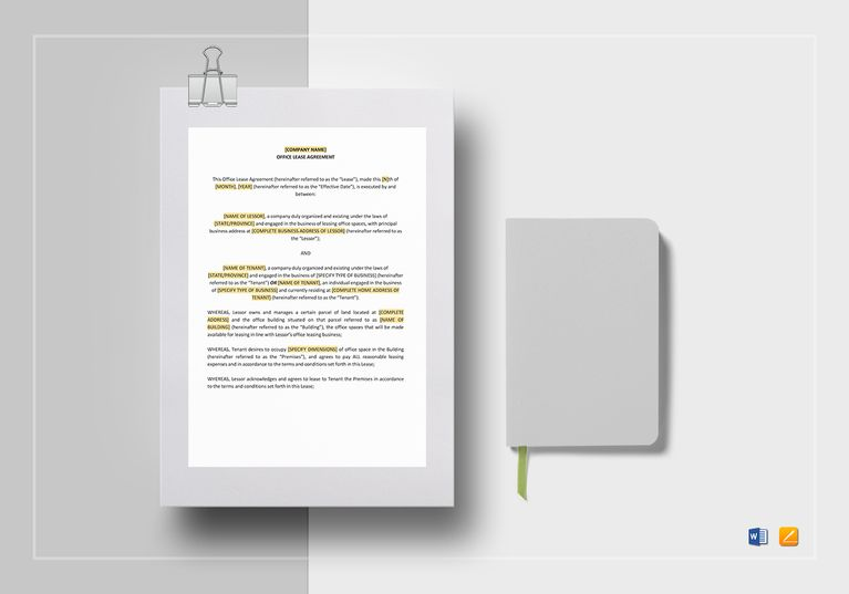 Office Lease Agreement Template Pinterest Commercial printing