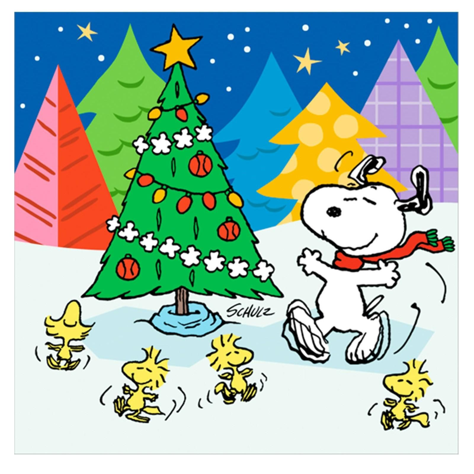 Snoopy, Woodstock & his pals dancing around the Christmas tree ...