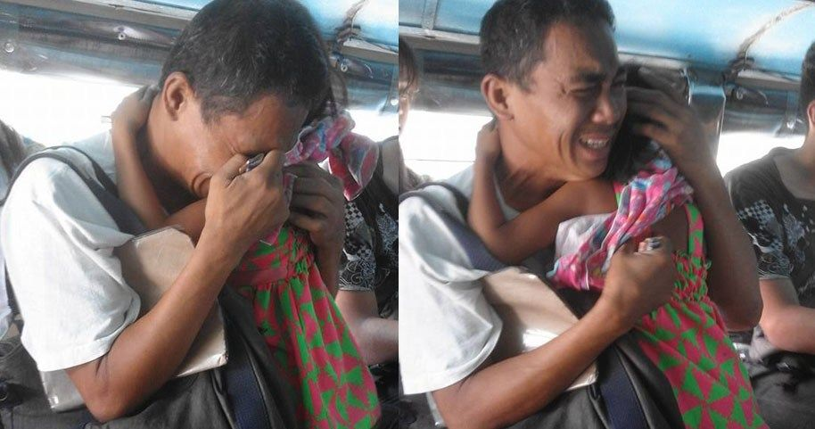 Father Carrying a Sick Child Breaks Down Into Tears While Inside a PUJ Asking for Help - http://inewser.com/father-carrying-sick-child-breaks-tears-inside-puj-asking-help/