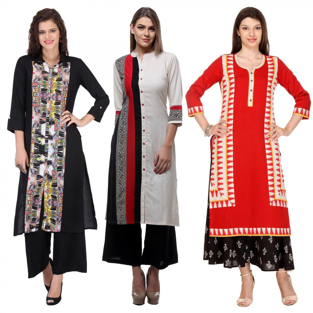 770326c55e Buy Pack of 3 Ready to Wear Printed Kurti for womens online India, Best  Prices, Reviews - Peachmode