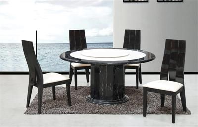 7pc Maegan 65 Round Brown Cherry Table Set Round Marble Table Round White Marble Coffee Table Contemporary Dining Room Sets