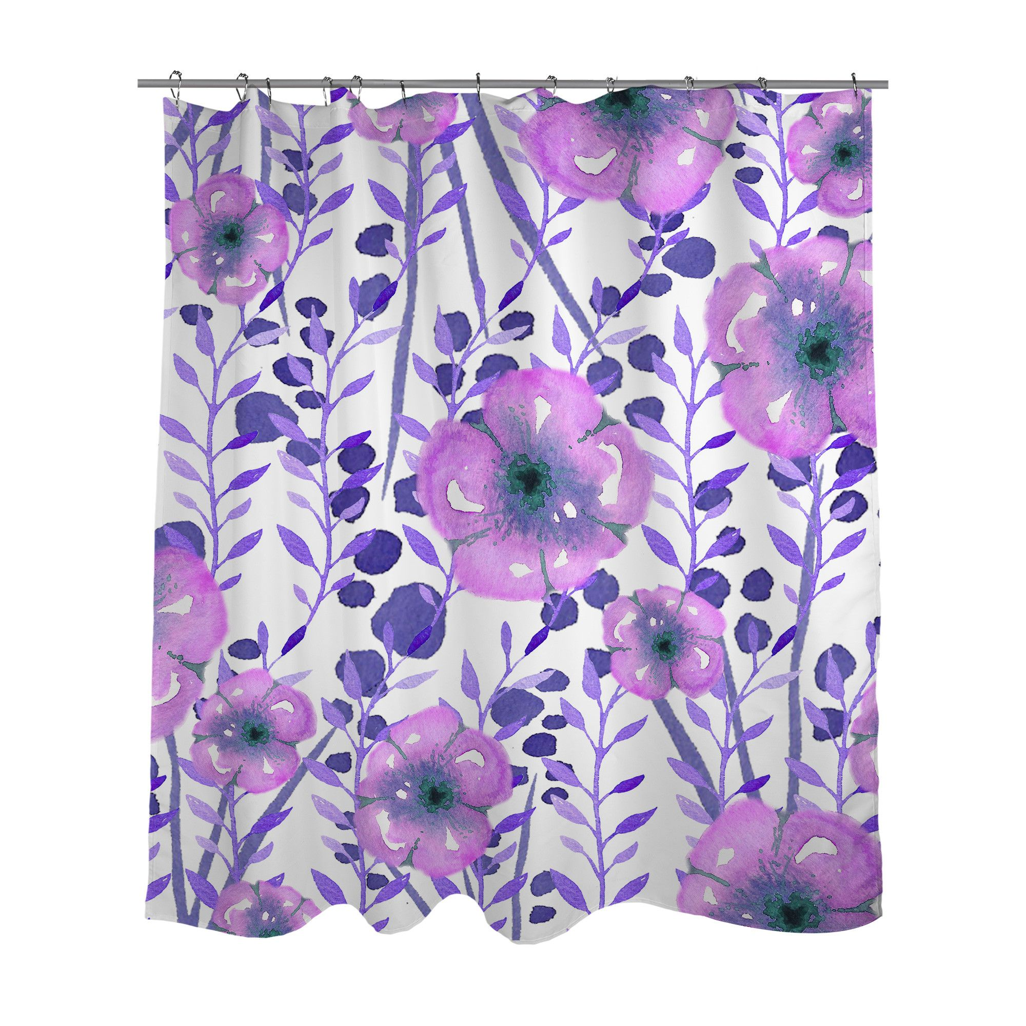 A Beautiful Purple Floral Design Is Professionally Printed On A
