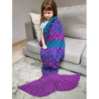 ed32bb8d72a Fish Scale Crochet Knit Color Block Mermaid Blanket Throw For Kids ...