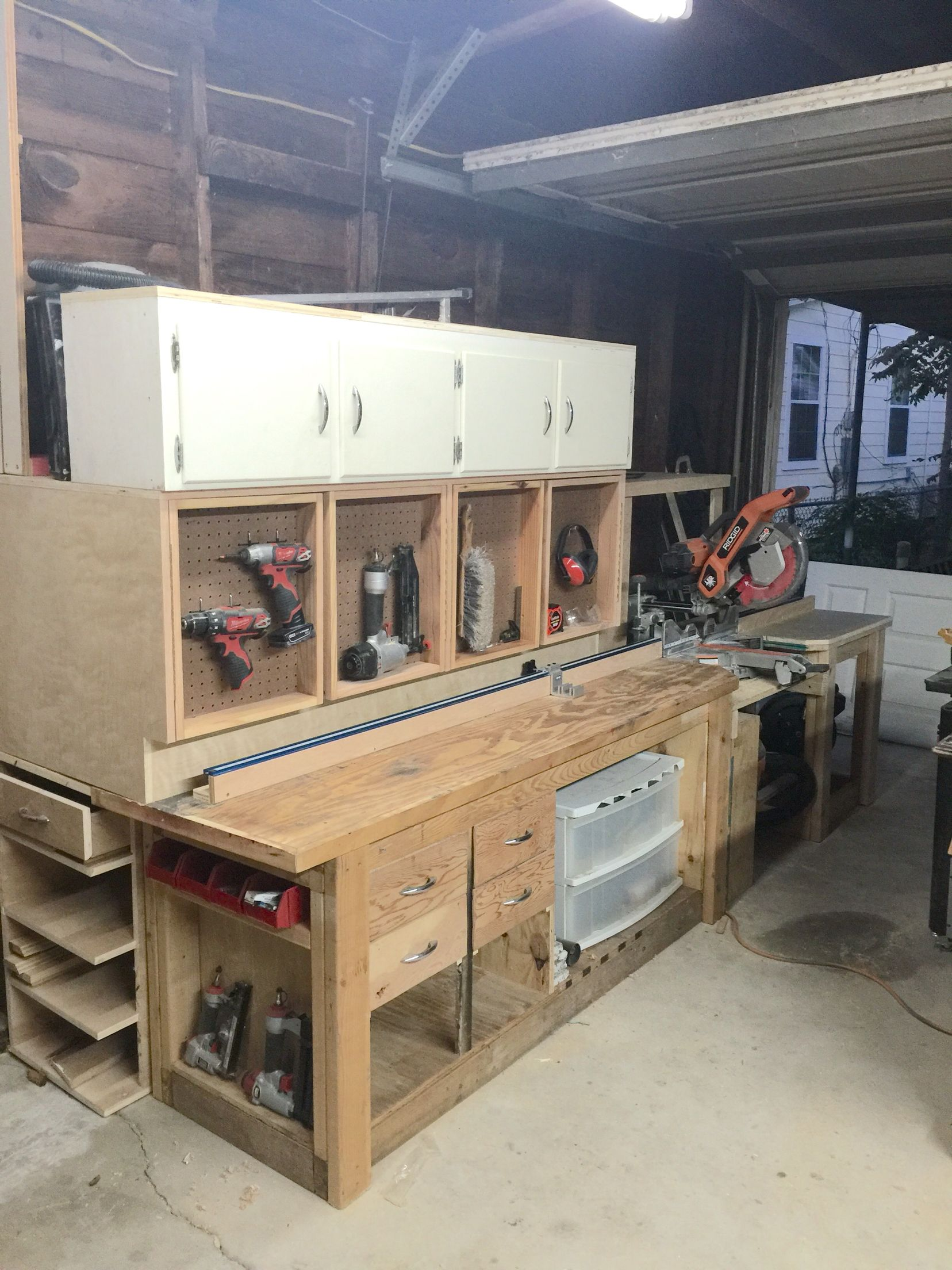 Miter saw station with lots of storage