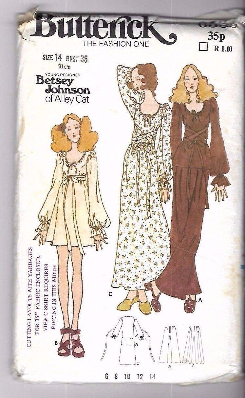 b4162488a Vintage 1970s Sewing Pattern Designer Betsy Johnson Alley Cat Dress Tunic  Pants | eBay