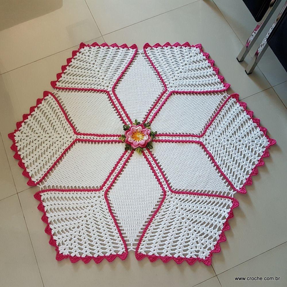 Tapete Tulipas Com Flor Camila Passo A Passo Tejido Gancho  -> Tapetes Para Sala Tejidos A Crochet