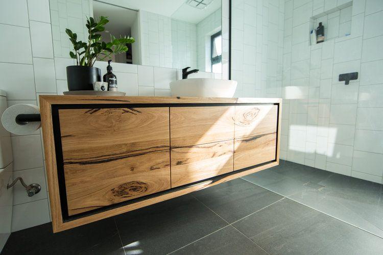 Bespoke Floating Solid Timber Vanity With Black Shadowline In 2020 Wooden Bathroom Vanity Timber Vanity Wooden Bathroom