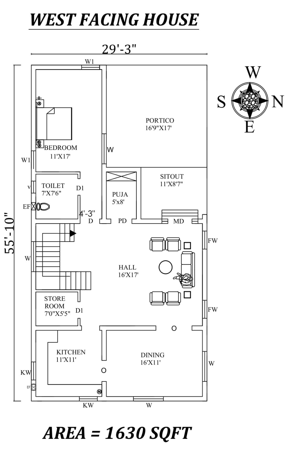 29 X55 Single Bhk West Facing House Plan Layout As Per Vastu Shastra Autocad Dwg And Pdf File West Facing House Single Floor House Design House Plans