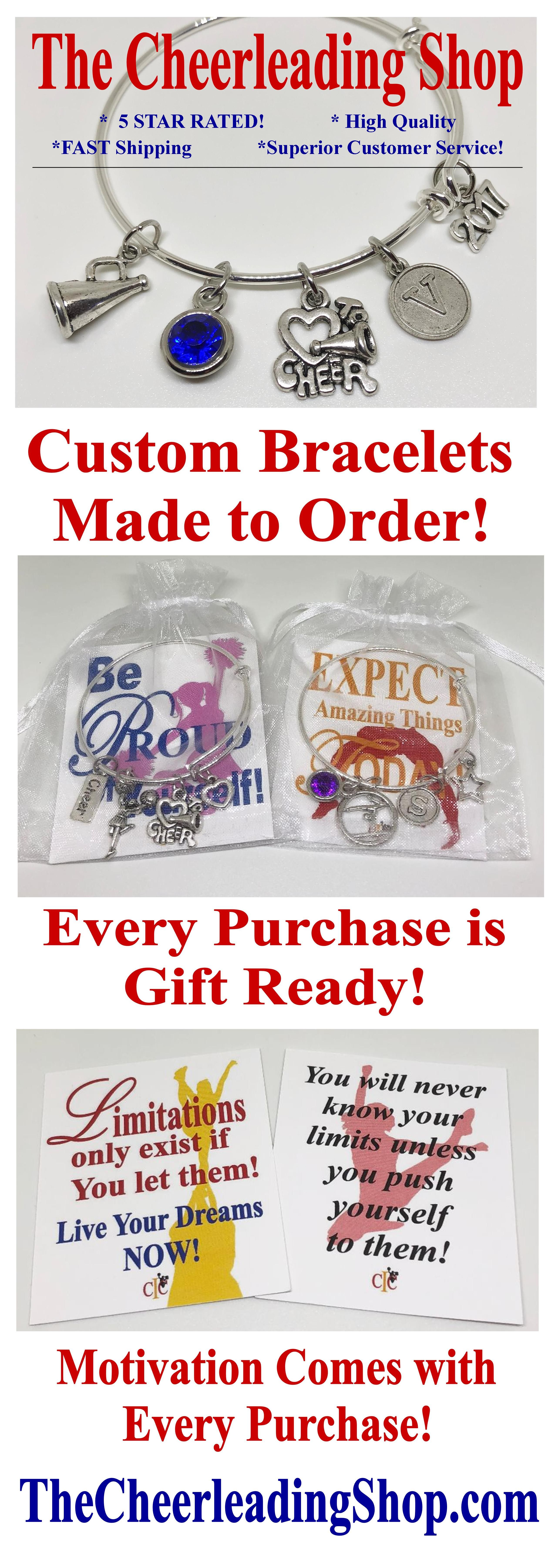 Are you looking for the PERFECT Cheerleading Gifts, Dance Gifts or Gymnastics Gifts? Check out TheCheerleadingShop.com for all of your gift and award needs for custom jewelry with motivation in every purchase!