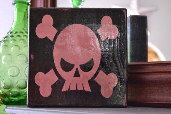 Custom Wood Sign, Home Decor, Girl, Punk Rock, Skull
