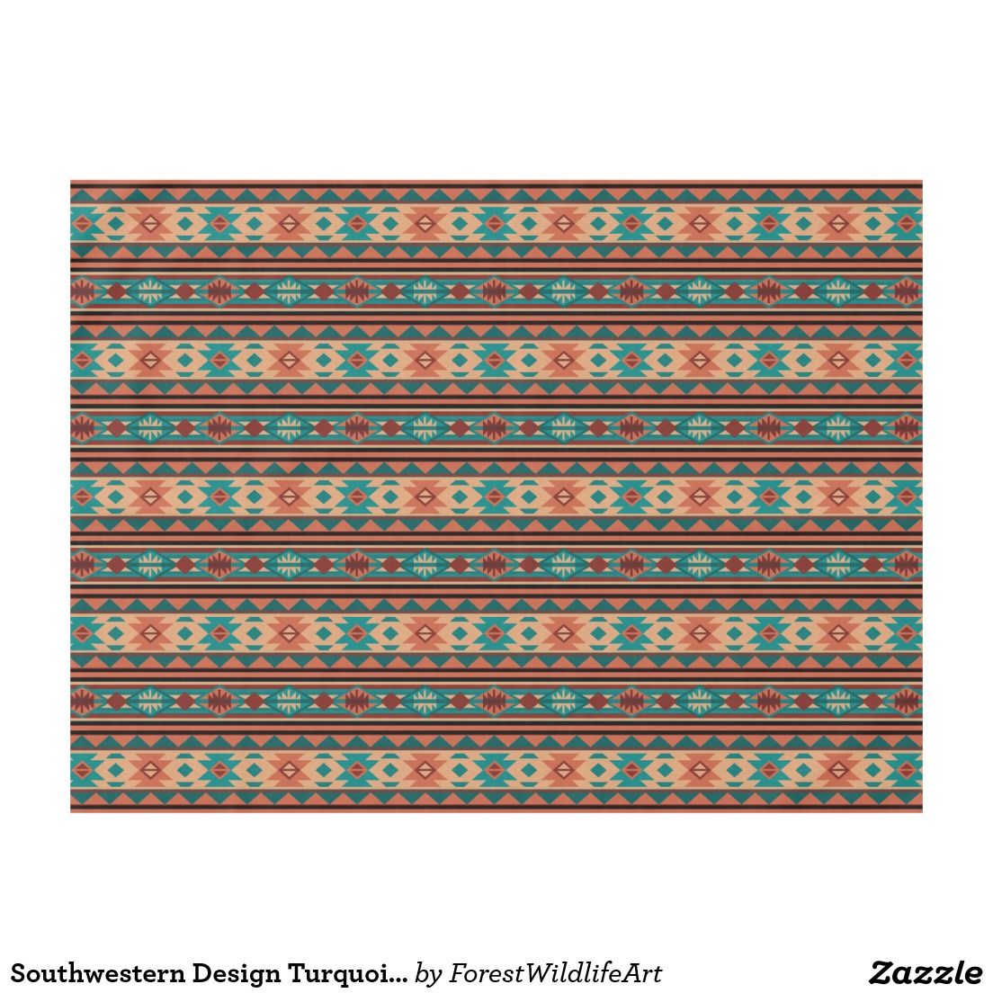 Southwest Tribal Pattern Turquoise Terracotta Tablecloth