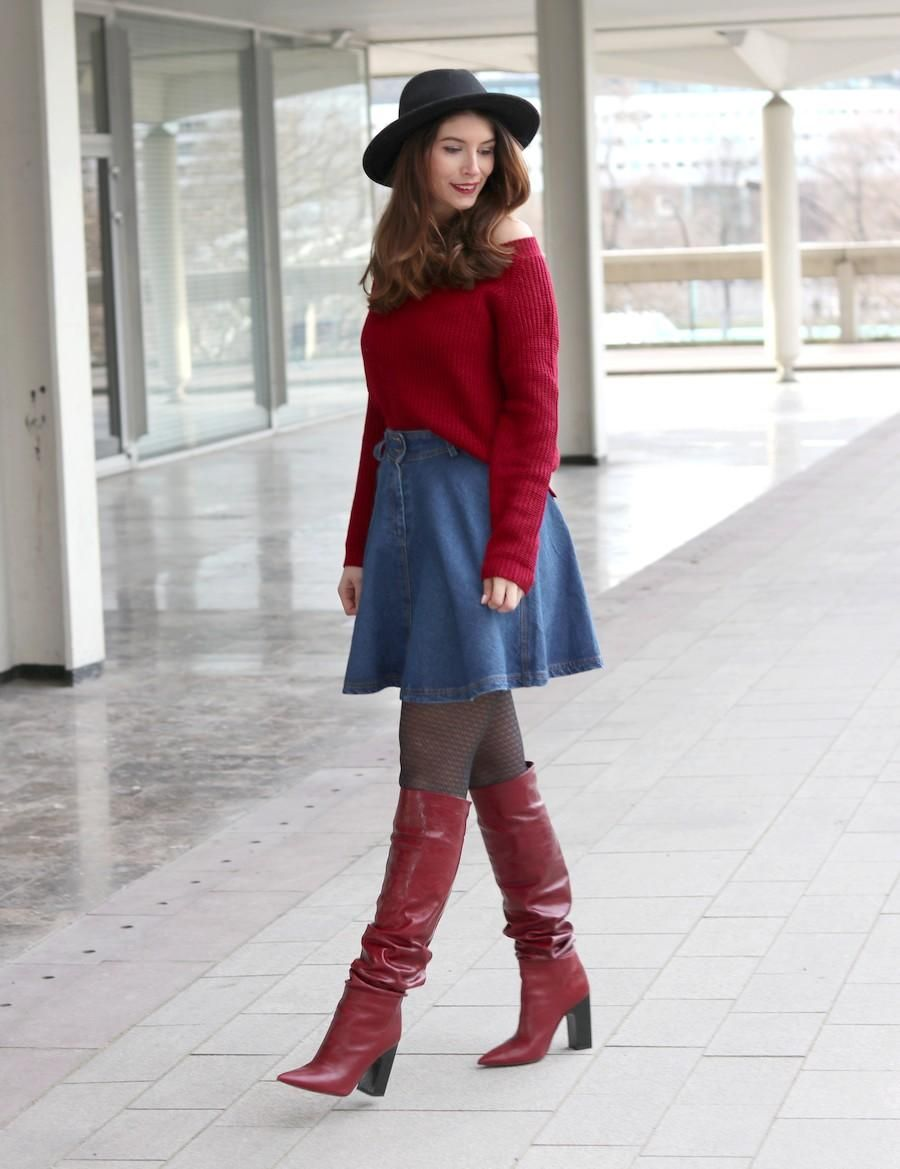 Bevorzugt Bottes d'amour en cuir Zara et jupe en jean  | Mes looks  HN72