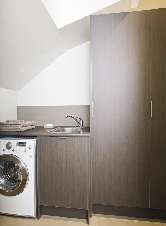 Custom Made Laundry Cabinets With Timber Grain Laminate And Discrete  Stainless Handles | The Kitchen Place | Melbourne, Australia