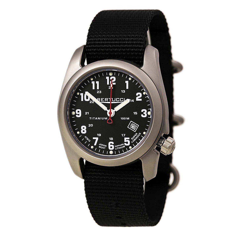 Bertucci A-2T Classic Field Watch Black #12722 Titanium, saphire crystal,10 yr battery, quartz $145
