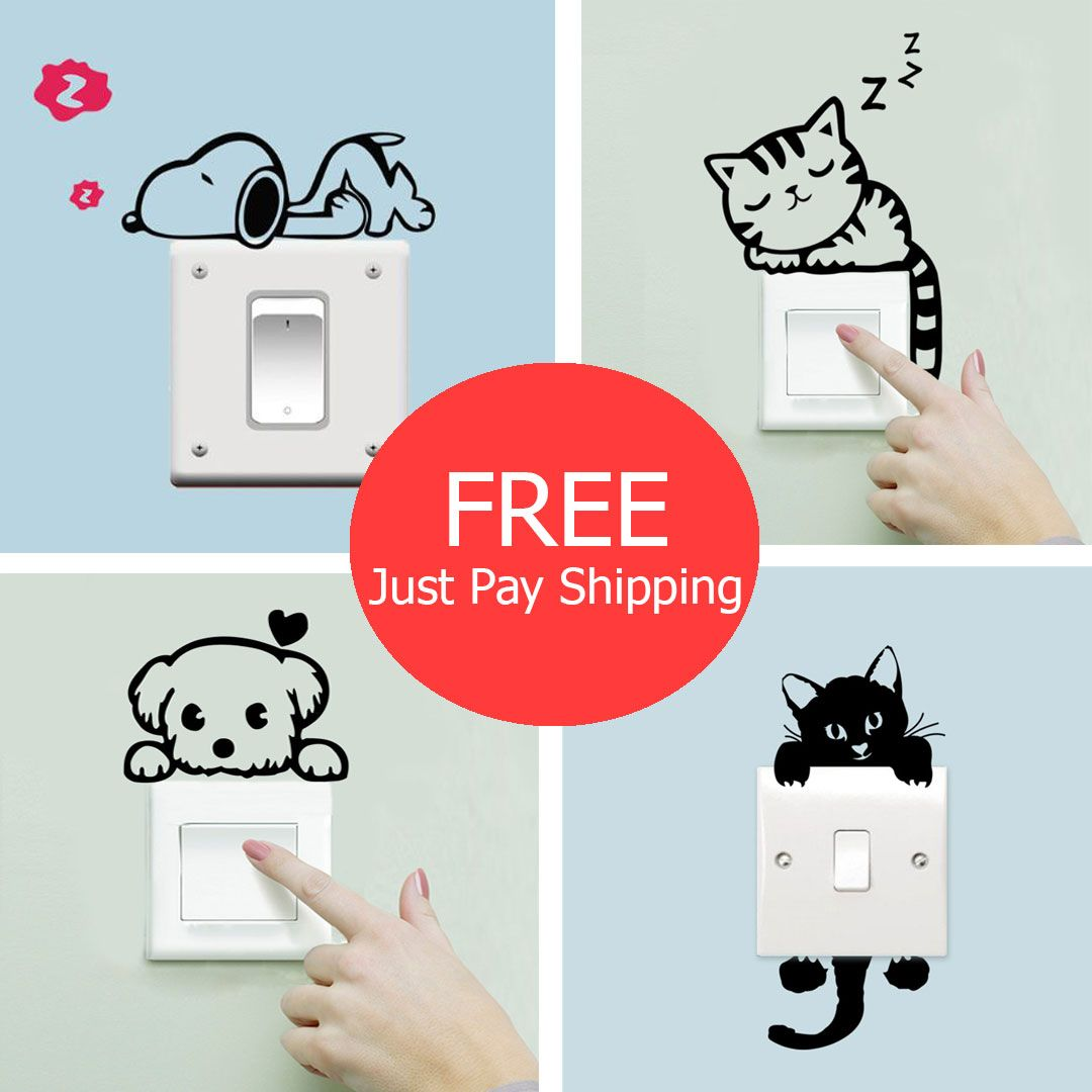 Best Special Cute Sleeping Cat Dog Stickers For Light 640 x 480