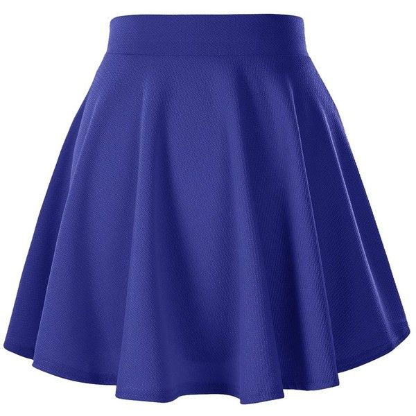 Women's Basic Solid Versatile Stretchy Flared Casual Mini Skater Skirt ($9.65) ❤ liked on Polyvore featuring skirts, mini skirts, stretchy skirts, blue circle skirt, flared mini skirt, skater skirt and flare skirt