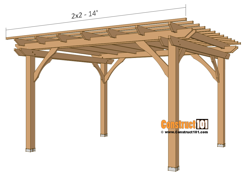 Pergola Plans 10x12 Free Pdf Download Construct101 Outdoor Pergola Pergola Plans Pergola