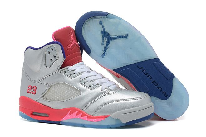 timeless design 9ec1a 6adc2 Female Michael Jordan Retro 5 Cement Grey Pink Flash Raspberry Red Electric  Purple