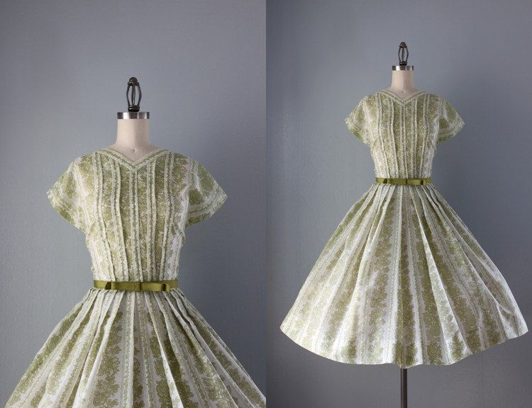50s Dress / Vintage 1950s Spring Green Dress / Bow Belt Fifties Dress. $98.00, via Etsy.