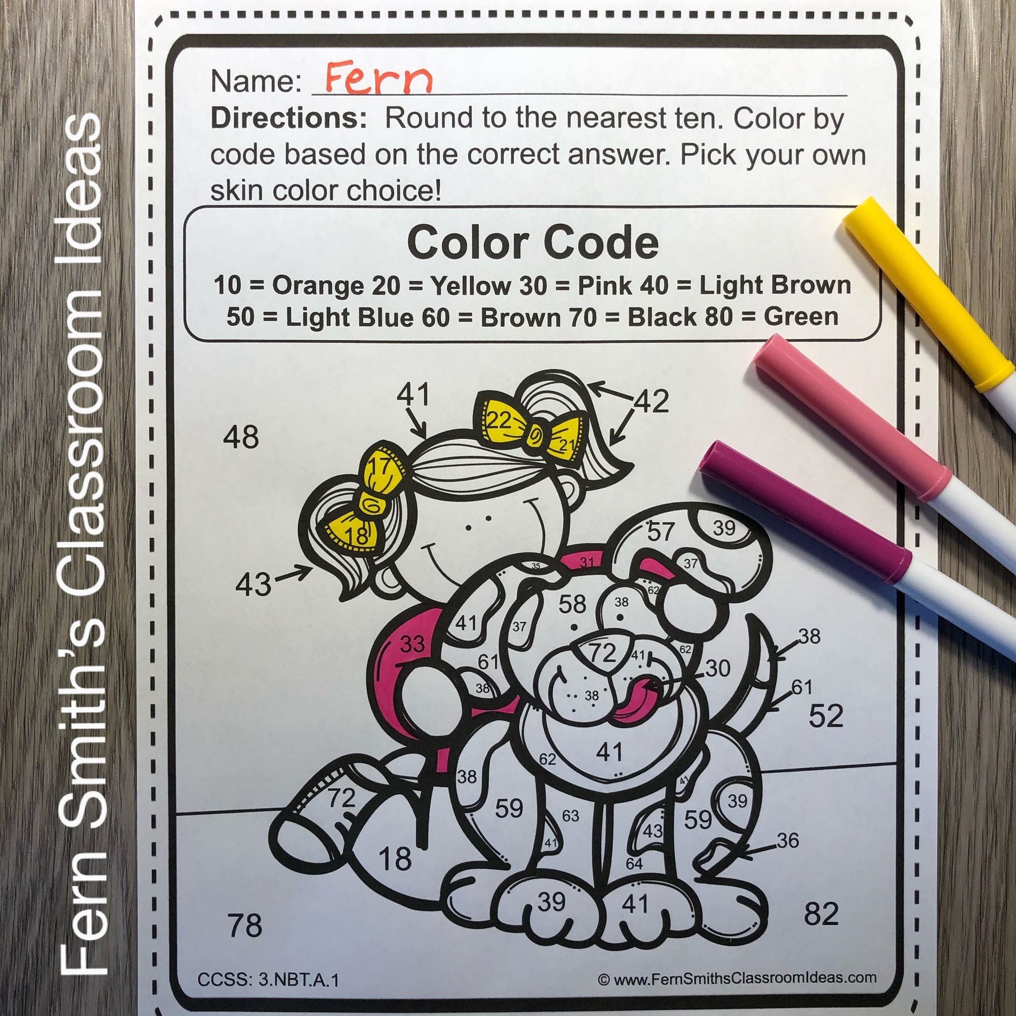 3rd Grade Go Math 1 2 Round To Ten Or Hundred Color By