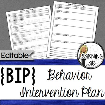 Behavior Intervention Plan Behavior interventions, Template and Filing