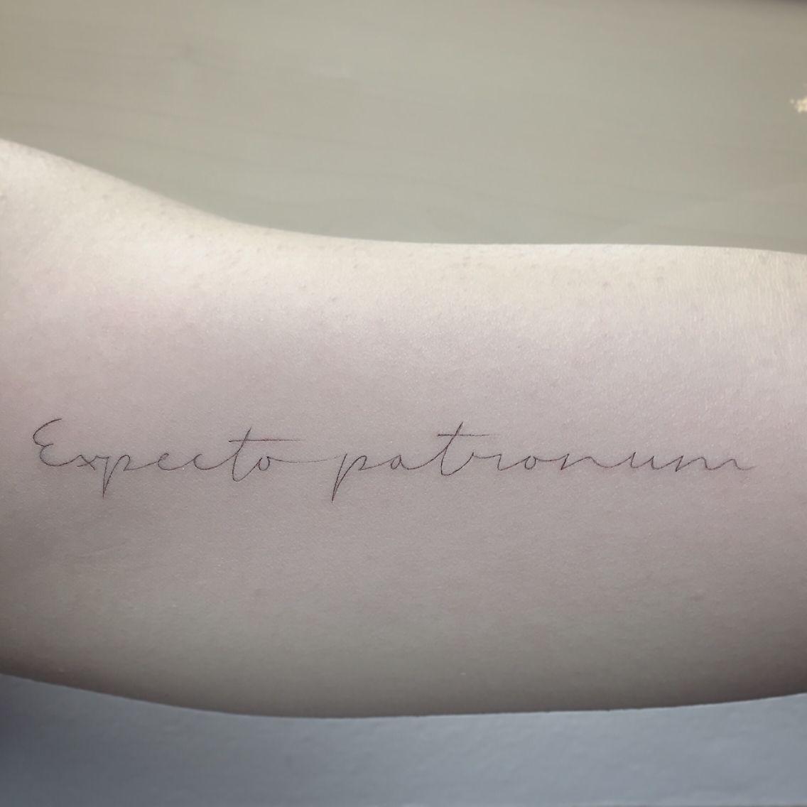 By East Iz   #shamrocksocialclub #east_ssc #singleneedle #singleneedletattoo #fineline #tattoo #script #harrypotter