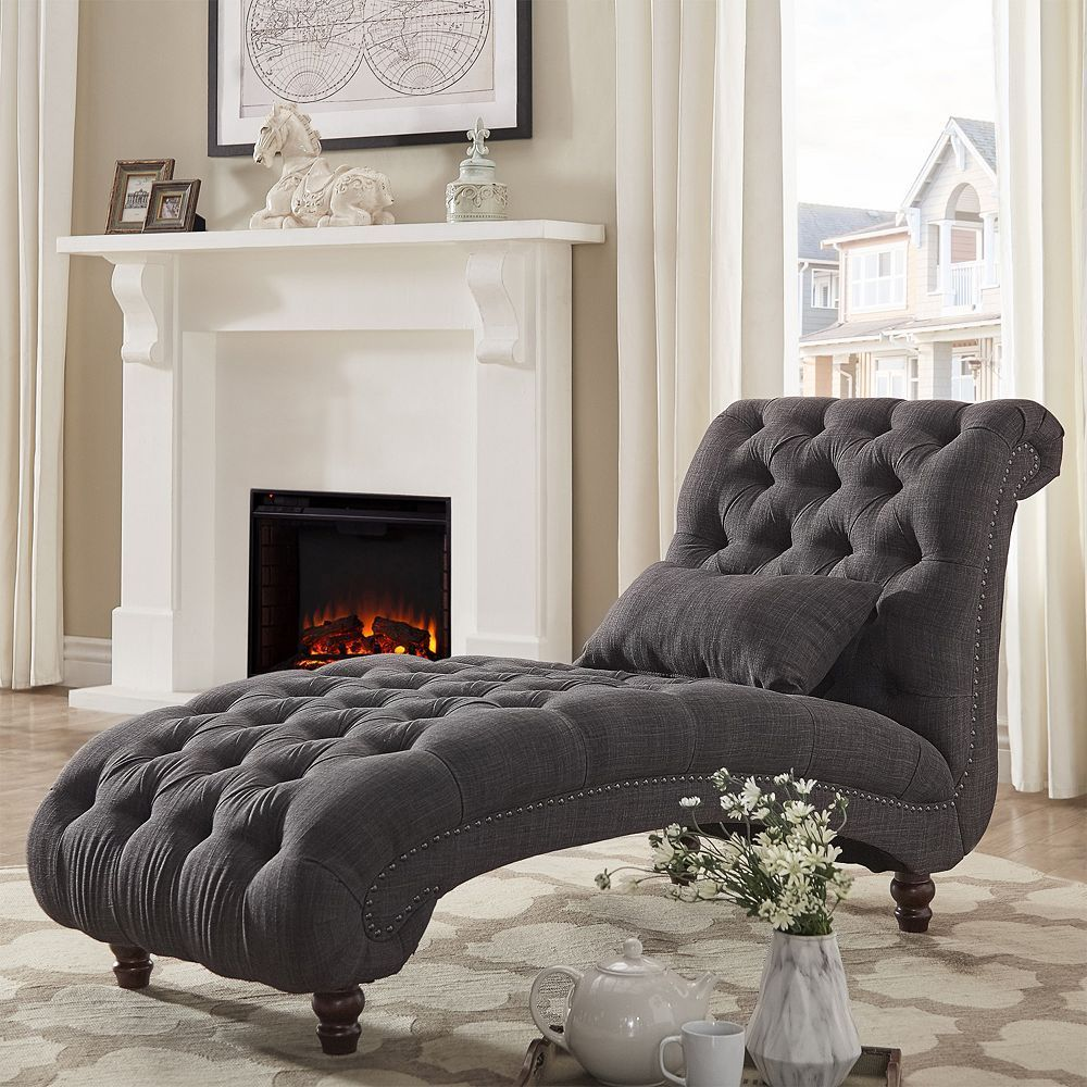 HomeVance Tufted Chaise Lounge Chair U0026 Pillow 2 Piece Set, Dark Grey