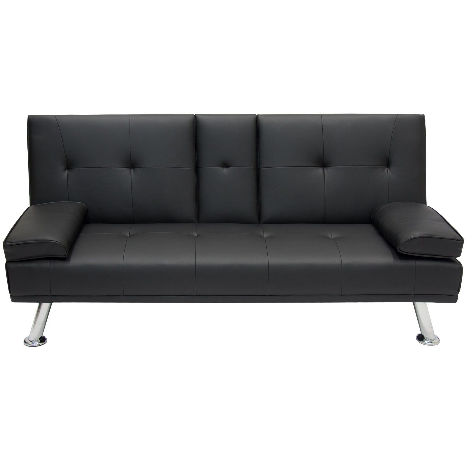 Entertainment Furniture Futon Sofa Bed Fold Up Down Recliner Couch Cup Holders Click