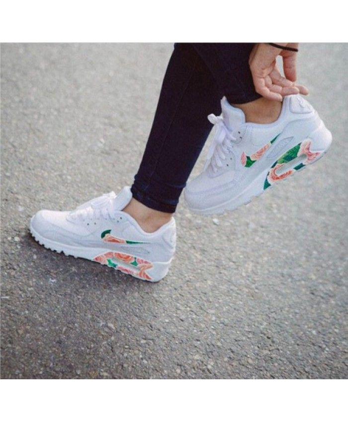 sports shoes edfe3 40077 Nike Air Max 90 Floral Blanche Vert Rose
