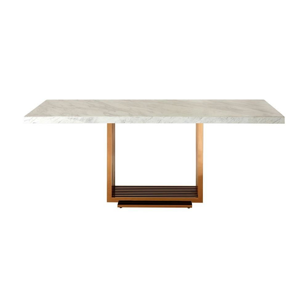 Dining Table White Marble Top Rose Gold