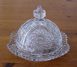 Vintage Patterned Clear Glass Dome Covered Butter Cheese Dish Glass Dome Cover Glass Domes Vintage Pattern