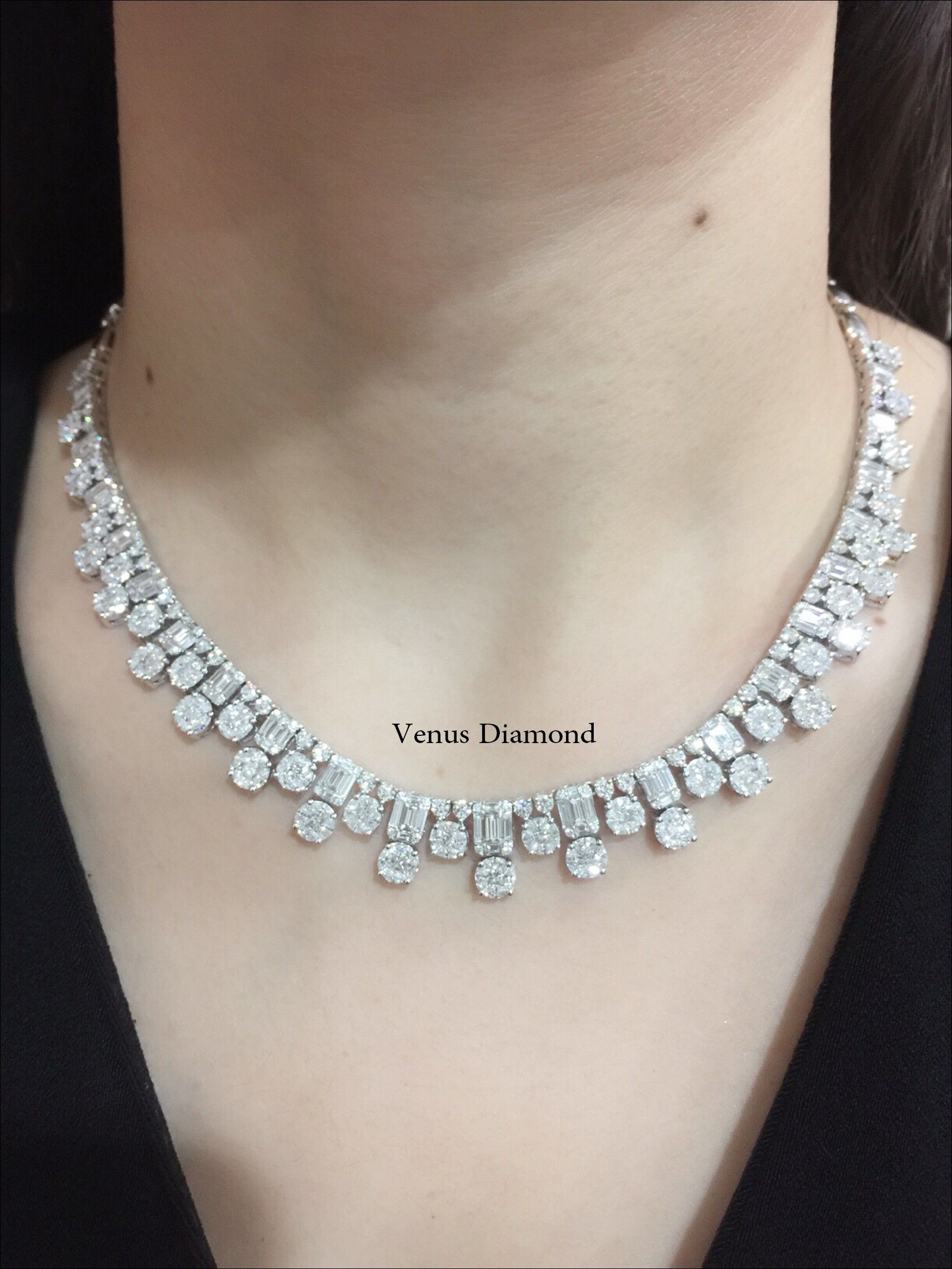 Illusion setting diamond necklace forever classic jewelry