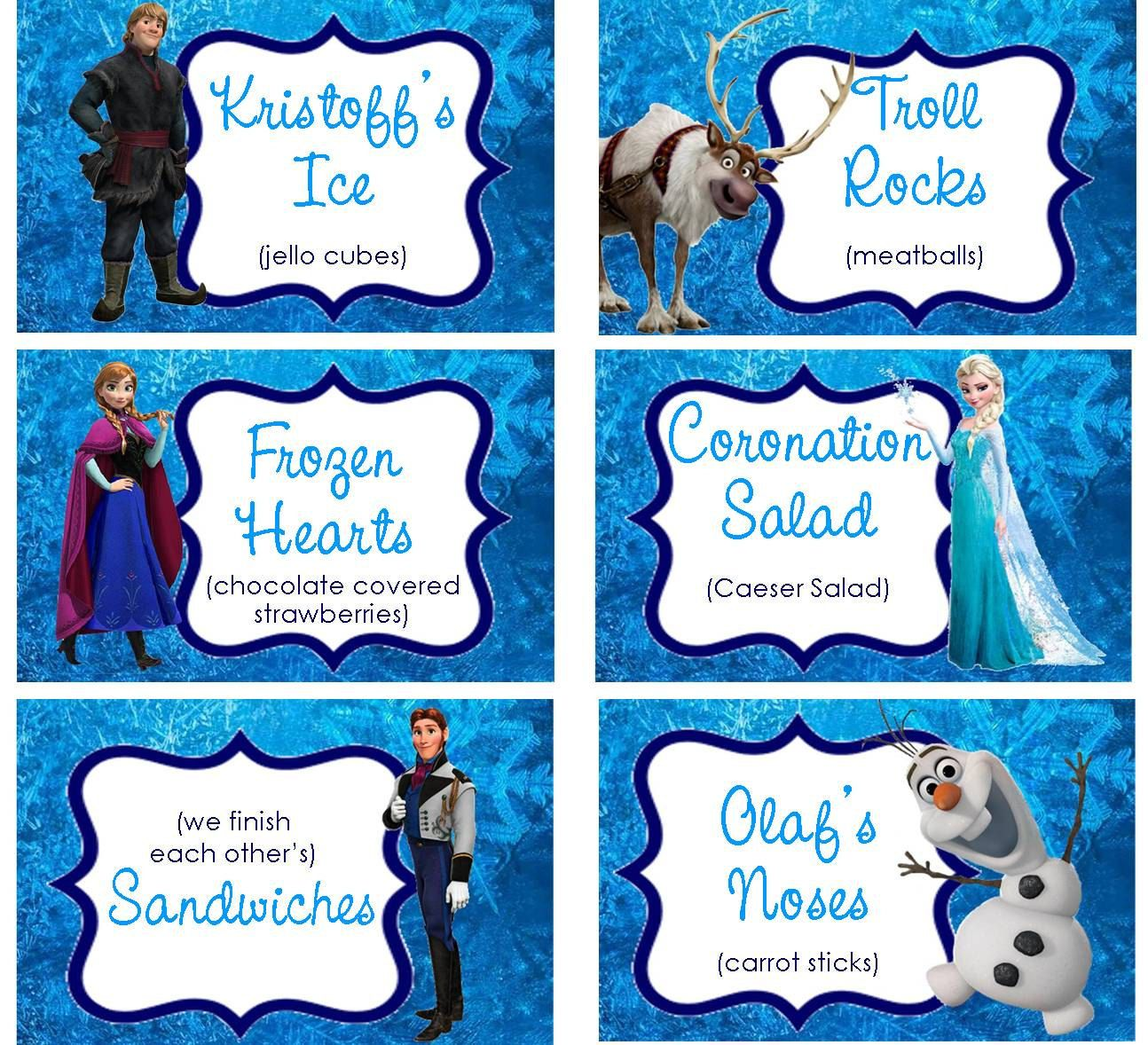 INSTANT DOWNLOAD Food Labels Disney Frozen Birthday By