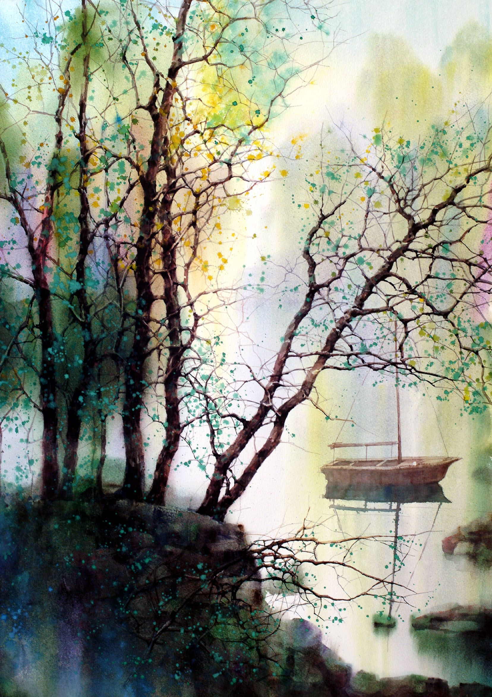 New River By Z L Feng Watercolor Landscape Landscape Art