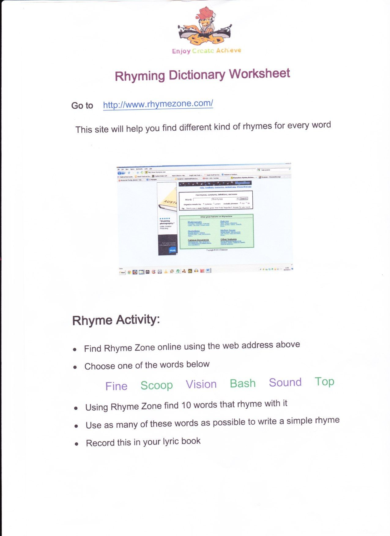 This Is An Online Rhyming Dictionary Worksheet That